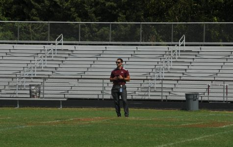 Principal Dr. Jones standing out on Ed Karpus Field during a pep rally. (9/4/19)